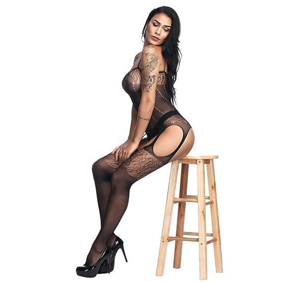 Lenceria Mujer Erotica,❤ Modaworld Malla de Encaje para Mujer Babydoll Monos Bodystockings de Entrepierna Abierta Pijama Picardias Transparente Ropa ...