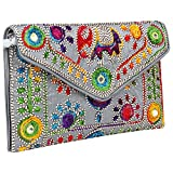 Rajasthani Jaipuri Art Sling Bag Foldover Clutch Purse-Quality Checked-Silver Grey