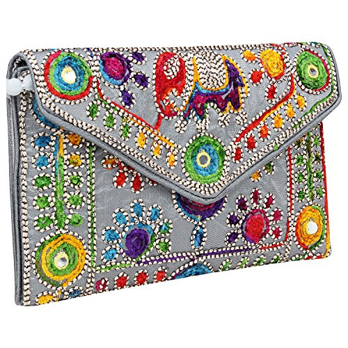Rajasthani Jaipuri Art Sling Bag Foldover Clutch Purse-Quality Checked-Silver Grey