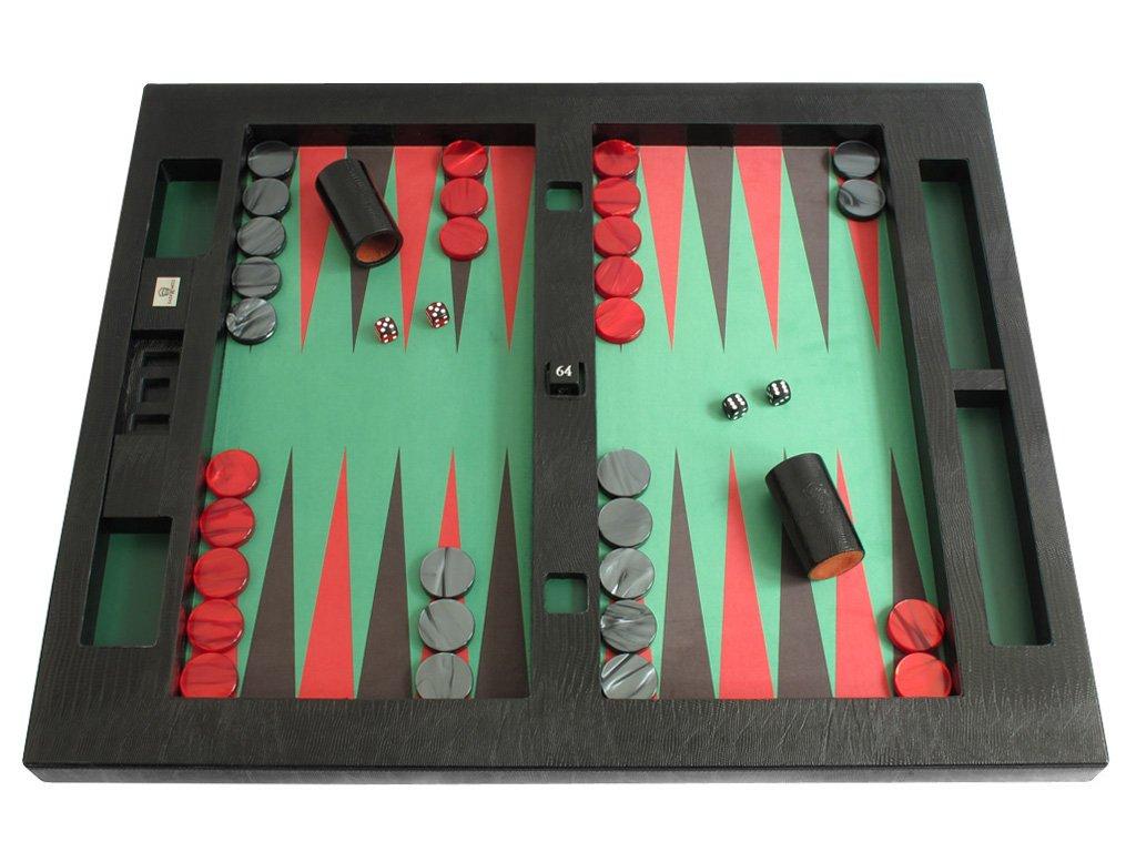 お待たせ! Leather/Microfiber Table Top Sacci) Backgammon Set Black - (26