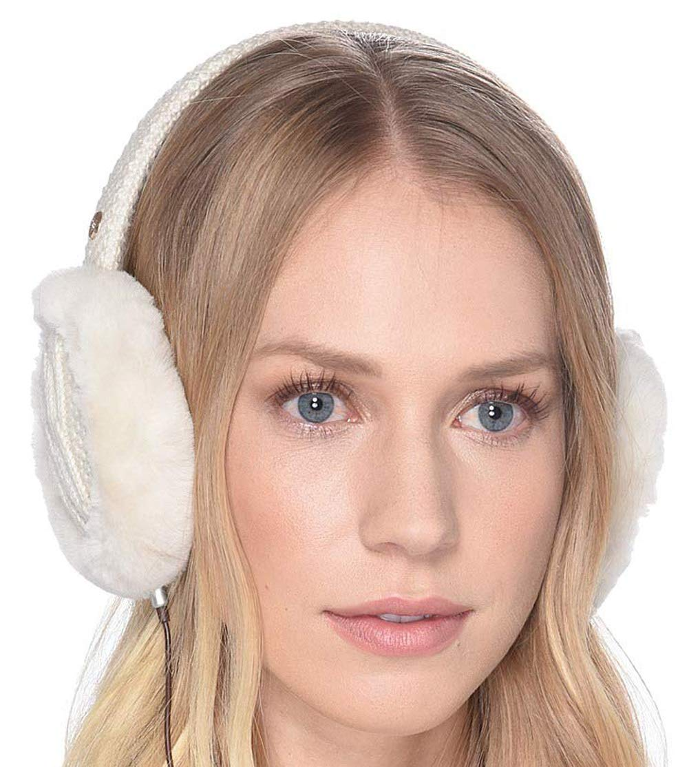 UGG Women's Cable Knit Water Resistant Sheepskin Earmuff with Tech Option Ivory One Size by UGG