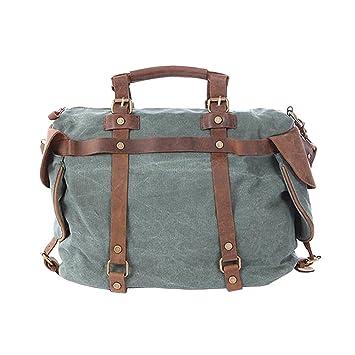 0b8e14df39efe Paonies Canvas Damen Herren Tasche Handgepäck Sporttasche Umhängetasche für  Reise Arbeit (Grün