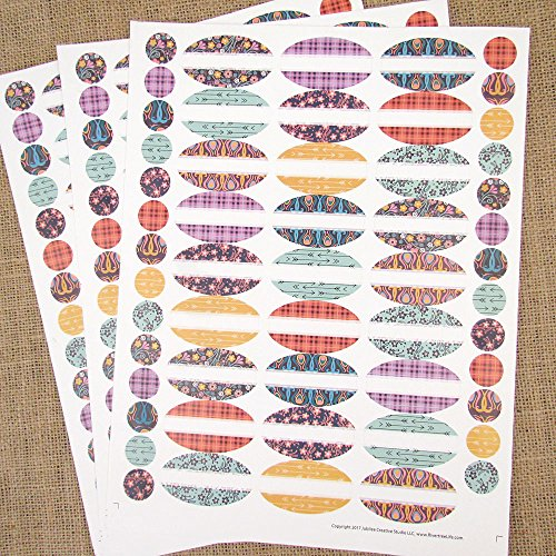 81 JoJo Oval Poly Weatherproof Essential Oil Bottle Labels Plus 81 Round Cap Stickers by Rivertree - Poly Oil