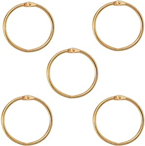 XMHF 2 Inch (5 Pack) Loose Leaf Binder Rings, Nickel Plated Steel Binder Rings,Keychain Key Rings, Metal Book Rings,Golden, for School, Home, Office