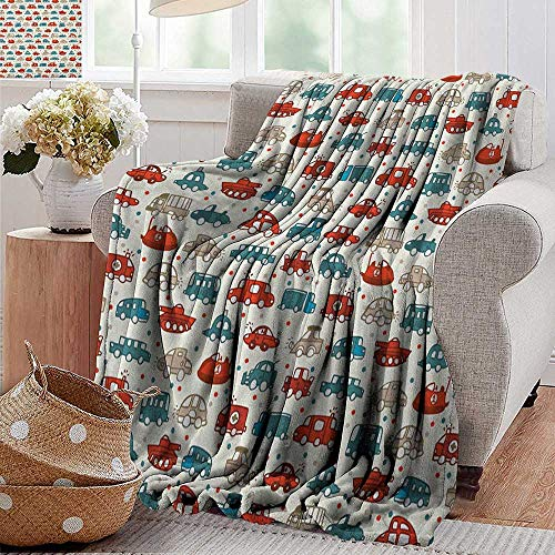 (XavieraDoherty Swaddle Blanket,Cars,Cheerful Baby Boy Play Things in Kids Doodle Style with Many Different Vehicles, Teal Scarlet Tan,Lightweight Extra Soft Skin Fabric,Not Allergic 60
