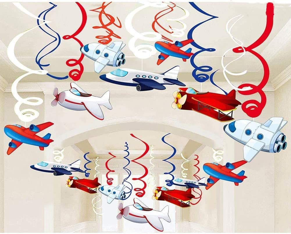 Packingmaster 30Ct Airplanes Hanging Swirl Home Decorations for Airplane Themed Birthday Baby Shower Party Supplies