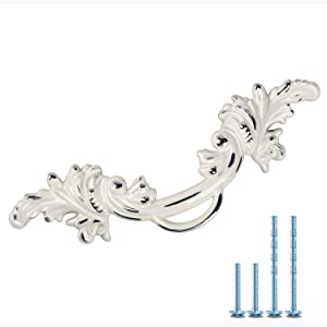 """6 Pack MOOD.SC 2.5"""" Hole Center Vintage Cabinet Knobs Shabby Chic Pull Handles European Style Antique Dresser Cream Ivory White Rustic Kitchen Cabinet Handle Furniture Hardwar (6, White & Silver Edge)"""