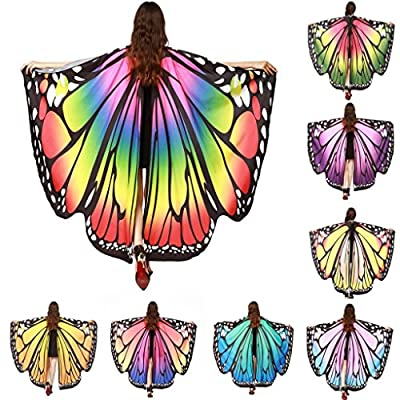 Hemlock Butterfly Shawl, 2018 New Womens Halloween Butterfly Wings Shawl Cape Scarf Fairy Poncho Shawl Wrap Costume Accessory