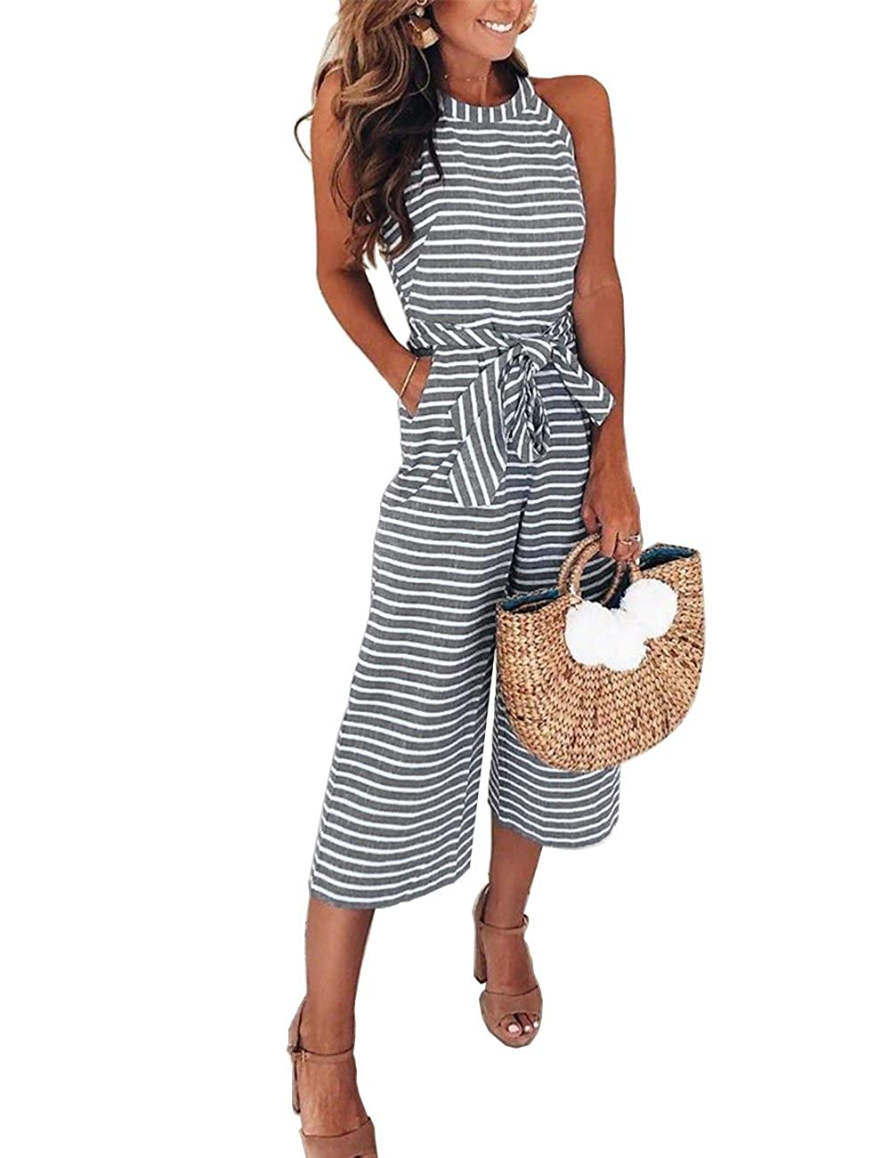 f6ff5d316fd FeelinGirl Women s Striped Jumpsuits High Waisted with Belt All in one  Playsuit  Amazon.co.uk  Clothing