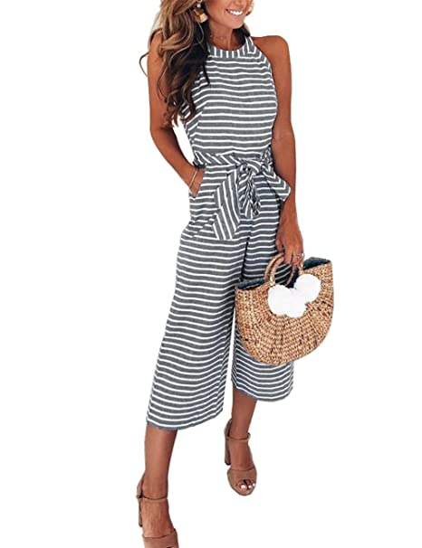 651836b3a59 FeelinGirl Women s Striped Jumpsuits High Waisted with Belt All in ...
