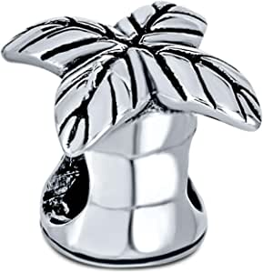 Tropical Honeymoon Vacation Beach Palm Tree Charm Bead For Women For Teen Oxidized .925 Sterling Silver Fits European Bracelet