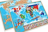 Office Products : Large Scratch Off World Map with Country Flags Underneath, US States outlined, Europe map close up. Detailed Deluxe Design and Gift Packaging. Perfect Gift for Traveler.