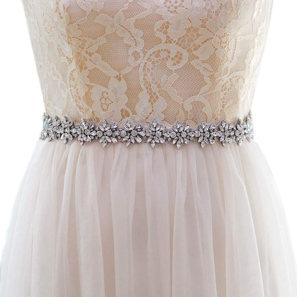 Gray Top Queen Womens Rhinestones Bridal Sash Belt Diamonds Wedding Belts Sashes