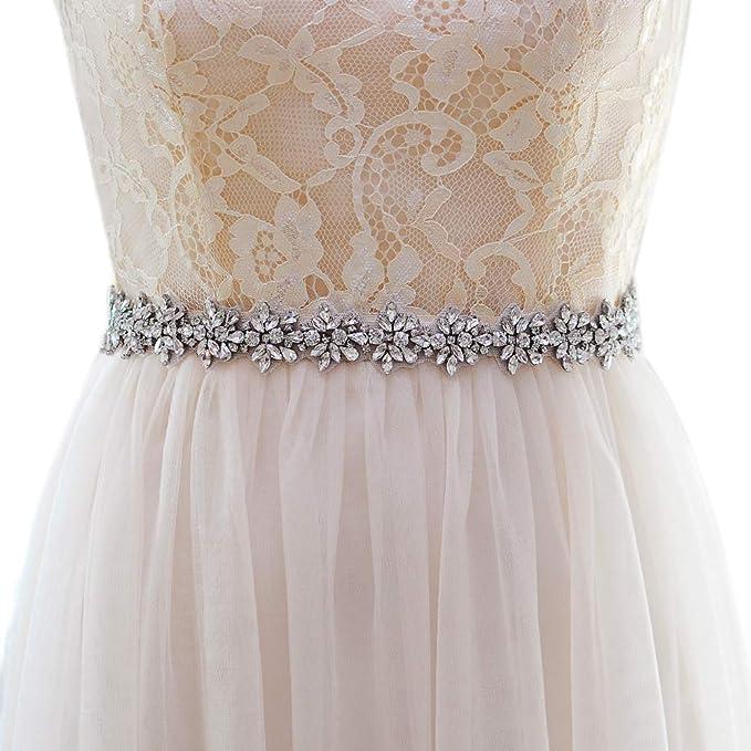 cb0bd91f98134 Top Queen Women's Crystal Diamond Bridal Belt Sashes Wedding Belts Sash for  Wedding Dress (Black