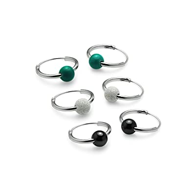 88f3e94a9 RIJ- Sterling Silver 12mm Endless Hoop Earrings Set of 3 Pair with  Simulated Hematite / Turquoise & Ball: Amazon.co.uk: Jewellery