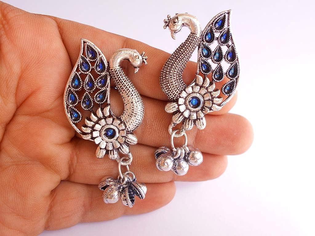 Ethnic Traditional Handmade Rajasthani Picock Design Blue Meena Earring DSCN9142