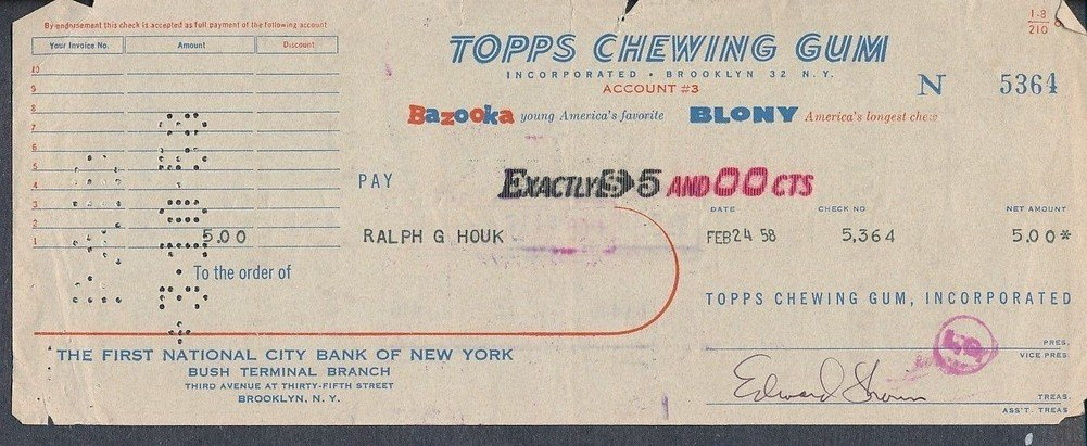 Autographed Topps Chewing Gum Processed Check To Ralph Houk Signed Edward Shorin *5364
