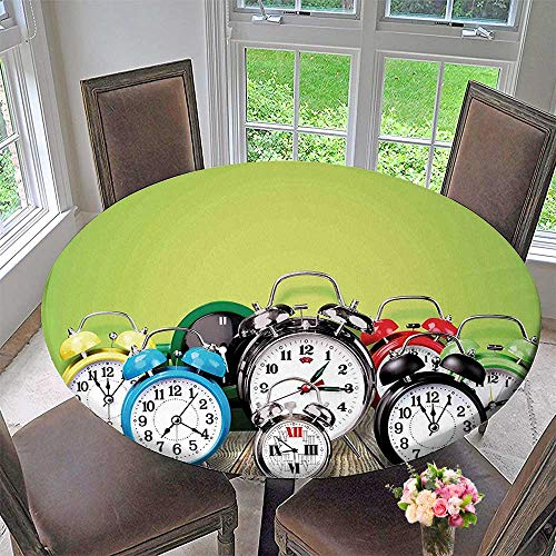 Mikihome Circular Table Cover Group of Alarm Clocks on The Wooden Ground Print for Wedding/Banquet 43.5