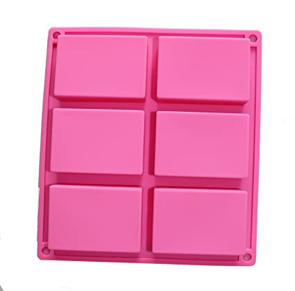 dingsheng 6 Cavidad Basic rectangular Bandeja Cubito de hielo molde de silicona tarta de 6 Cavidad