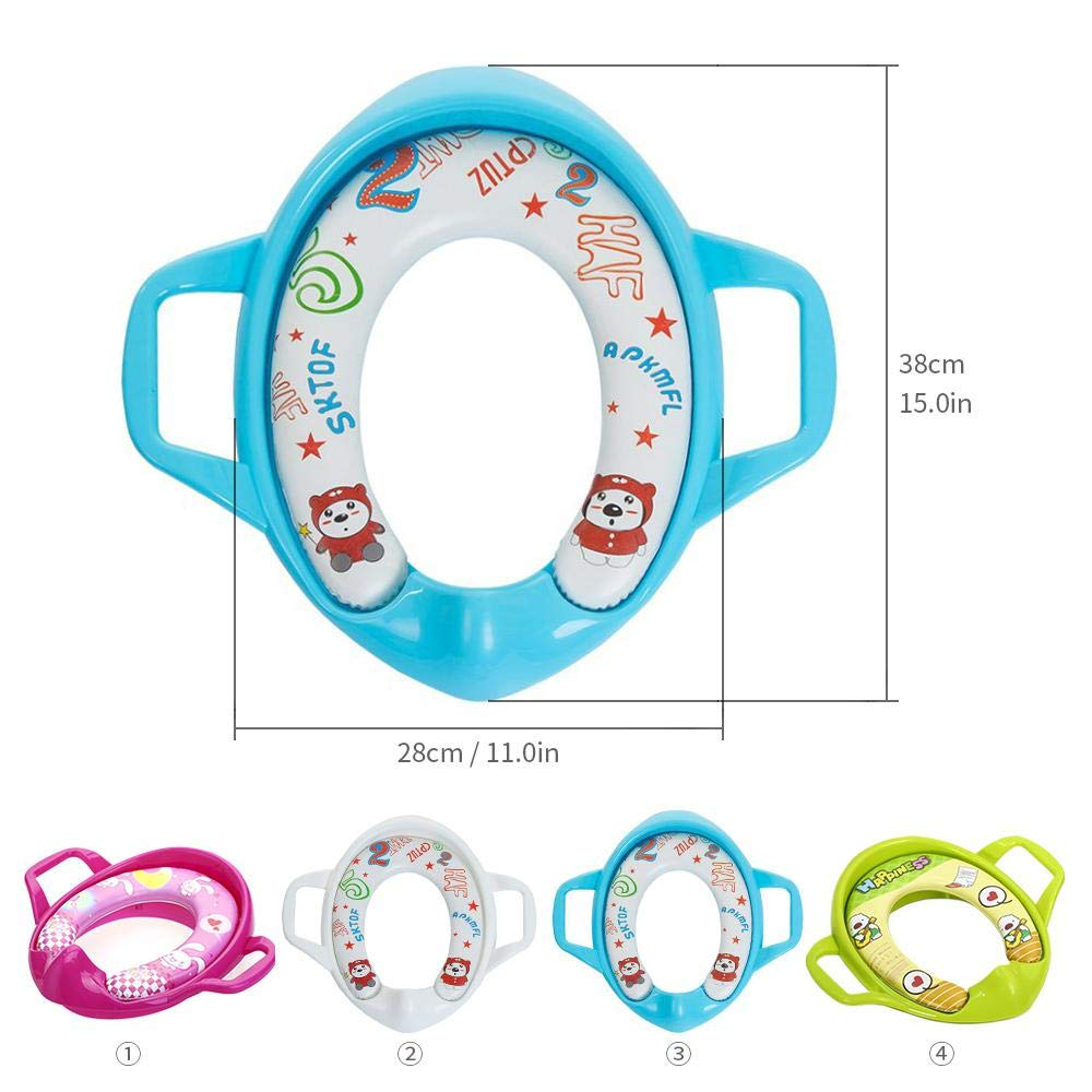 Non-Slip Portable Childrens Hand-Held Training Potty Seat with Handles Ring Toilet Training Seat Cover Travel Non-Slip Pads Trainer Fits Round /& Oval Toilets FOONEE Potty Training Toilet Seat
