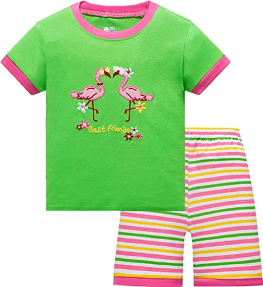8ff1d9256f86 Amazon.com: Nuosha-BABY Little Girls Shorts Pajama Set 100% Cotton  Sleepwear Summer PJs for Toddler: Clothing