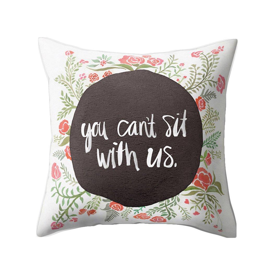 Colorido Fashion English Phrase Print Throw Pillow Case Cushion Cover Sofa Home Decor size Medium (16#)