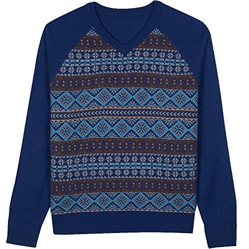 Blueberry Pet Men's Fair Isle Style V-Neck Sweater In Yale Blue, XX-Large