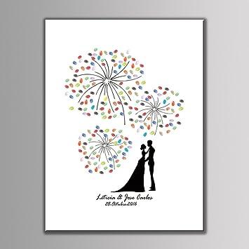 Winomo Fingerabdruck Baum Gästebuch Für Hochzeit Geburtstag Jubiläum