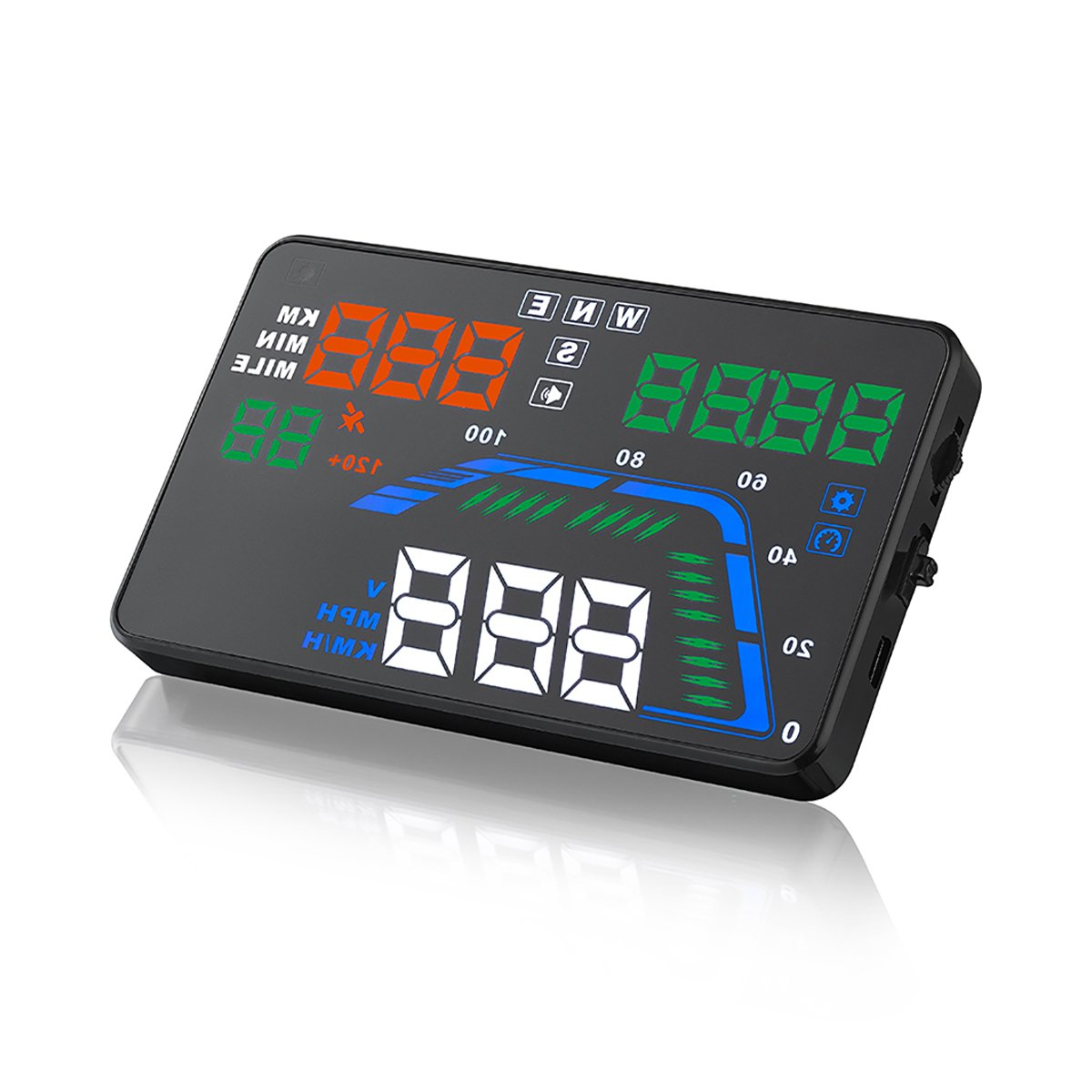 SEANFAR Q7 Head Up Display HUD OBD2 Windshield Universal Car GPS 5.5'' HUD Dashboard Vehicle-Mounted Projector with Over Speedometer Kmh/ MPH Speed Alarm Fuel Consumption Multicoloured Colorful