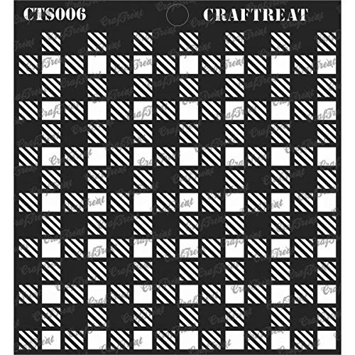 CrafTreat Stencil - Shepherds Check | Reusable Painting Template for Journal, Notebook, Home Decor, Crafting, DIY Albums, Scrapbook and Printing on Paper, Floor, Wall, Tile, Fabric, Wood -