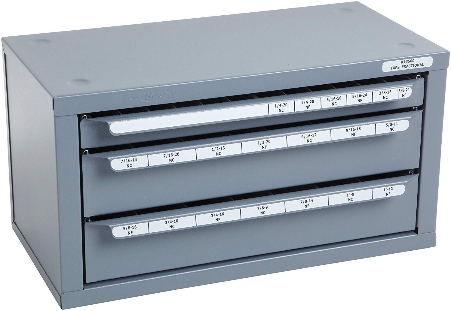 Huot Three-Drawer Fractional Tap Dispenser Cabinet for Fractional Sizes 1//4-20 to 1-12