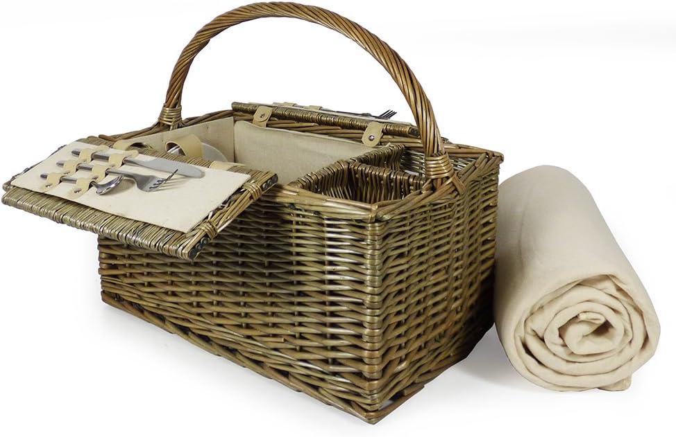 Cesta de picnic con tapa con tapa de 2 personas