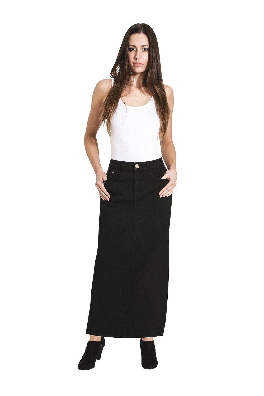 8bb61aa522 Top11: USKEES Jessica Long Denim Skirt - Black Maxi Jean Skirt US Size 8-20