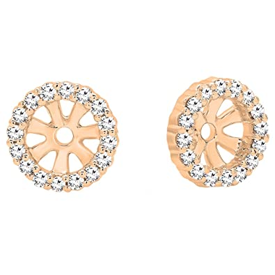3ccb12f38d5cc 0.16 Carat (ctw) 14K Gold Round Diamond Removable Jackets For Stud Earrings