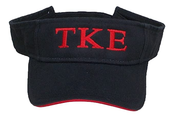 9679916d6cf Mega Greek Mens Tau Kappa Epsilon Visor Black With Red Stripe at Amazon  Men s Clothing store