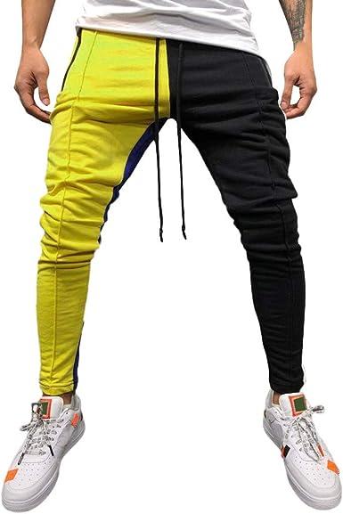 Marlene1988 Pantalones de Trekking el/ástico T/áctico Pantal/ón termicos Camuflaje Color de Empalme Bolsillos con Cuerda Casuales Deportiva Deportivos Pantalones Hombre