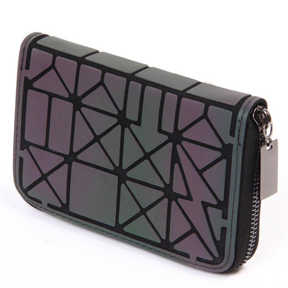Betrocka Women Short Clutch Luminous Wallet Diamond Lattice Wallets Purse Short 3