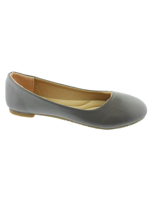 Lady Boss Girls Gray Rounded Toe Slip On Trendy Ballet Flats 11-4 Kids