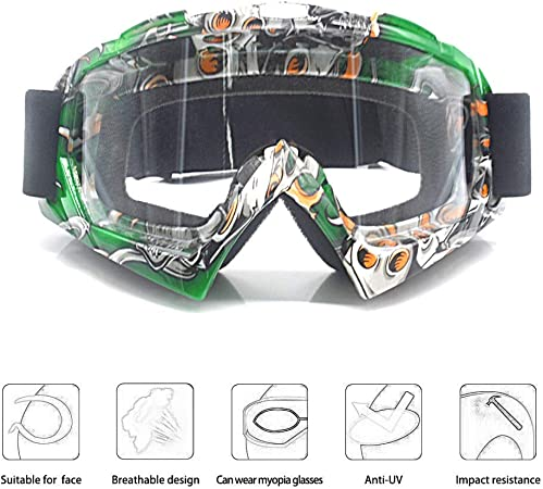 MOOREAXE Motorcycle Goggles,Anti Wind Dirt Bike Riding Helmet Goggles Transparent Skiing Skating Windproof Eyewear Protective Gear,for Adult Women Men Youth