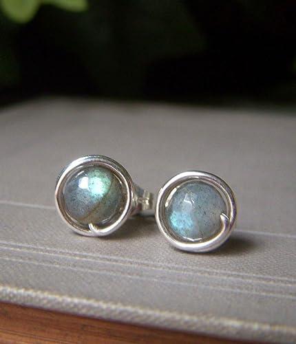 d87c4c279 Amazon.com: Labradorite Earrings, Hand Wrapped Gemstone Studs ...