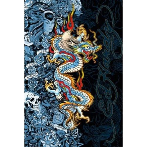 Ed Hardy Blue Dragon - Life Live Luck 36x24 Tattoo Art Print