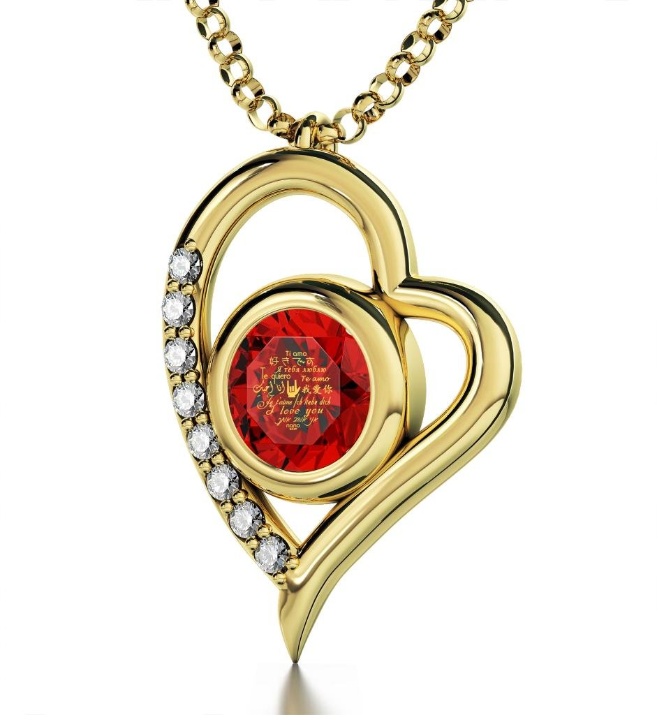 Gold Plated Heart Pendant Necklace I Love You 12 Languages 24k Gold Inscribed Red Crystal, 18'' Chain