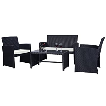Goplus 4 PC Rattan Patio Furniture Set Garden Lawn Sofa Cushioned Seat  Wicker Sofa (Black