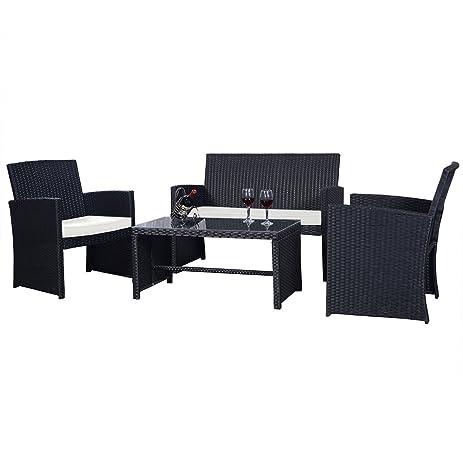 goplus 4 pc rattan patio furniture set garden lawn sofa cushioned seat wicker sofa black - Rattan Garden Furniture 4 Seater