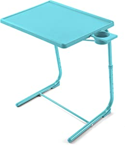 HUANUO Adjustable TV Tray Table - TV Dinner Tray on Bed & Sofa, Comfortable Folding TV Trays with 6 Height & 3 Tilt Angle Adjustments (Azure)