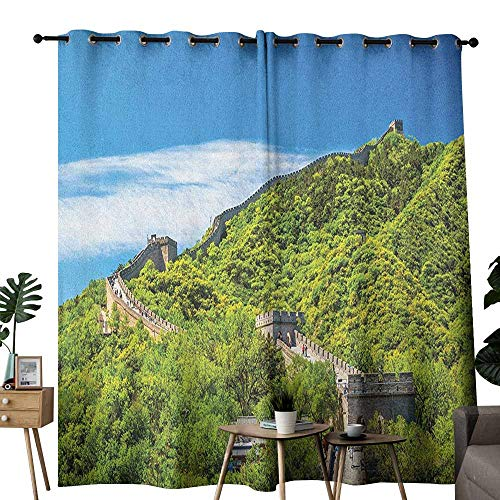 duommhome Great Wall of China Sliding Curtains Old Chinese Asian Building Area Panorama in Nature Exotic Scene Set of Two Panels W120 x L96 Turquoise Green