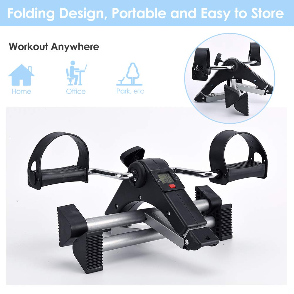 SYNTEAM Foldable Pedal Exerciser with LCD monitor bike exercise machine for Seniors-Fully Assembled, No Tools Required(Black) by Synteam (Image #3)
