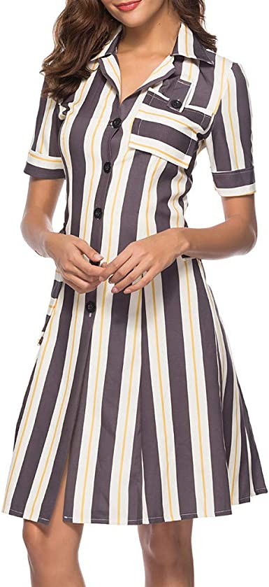 Vestido de Mujer de algodón sin Mangas Vestido Camisa Mujer Vestido de Rayas Cuello en V Manga Corta tubini Mujer Elegantes con cinturón Camisa de Verano de Manga Corta Blusa Casual Gris