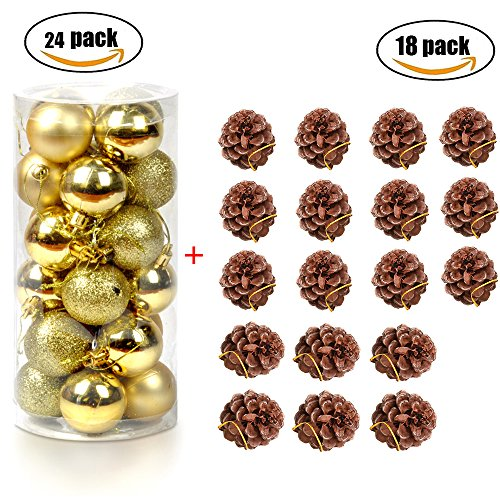Faylapa Christmas Ball Ornaments Shatterproof Christmas Tree Decorations Baubles + Natural Pine Cones Ornaments for Party Wedding Birthday Holiday Xmas Tree (Gold) (Shatterproof Ornament Pinecone)