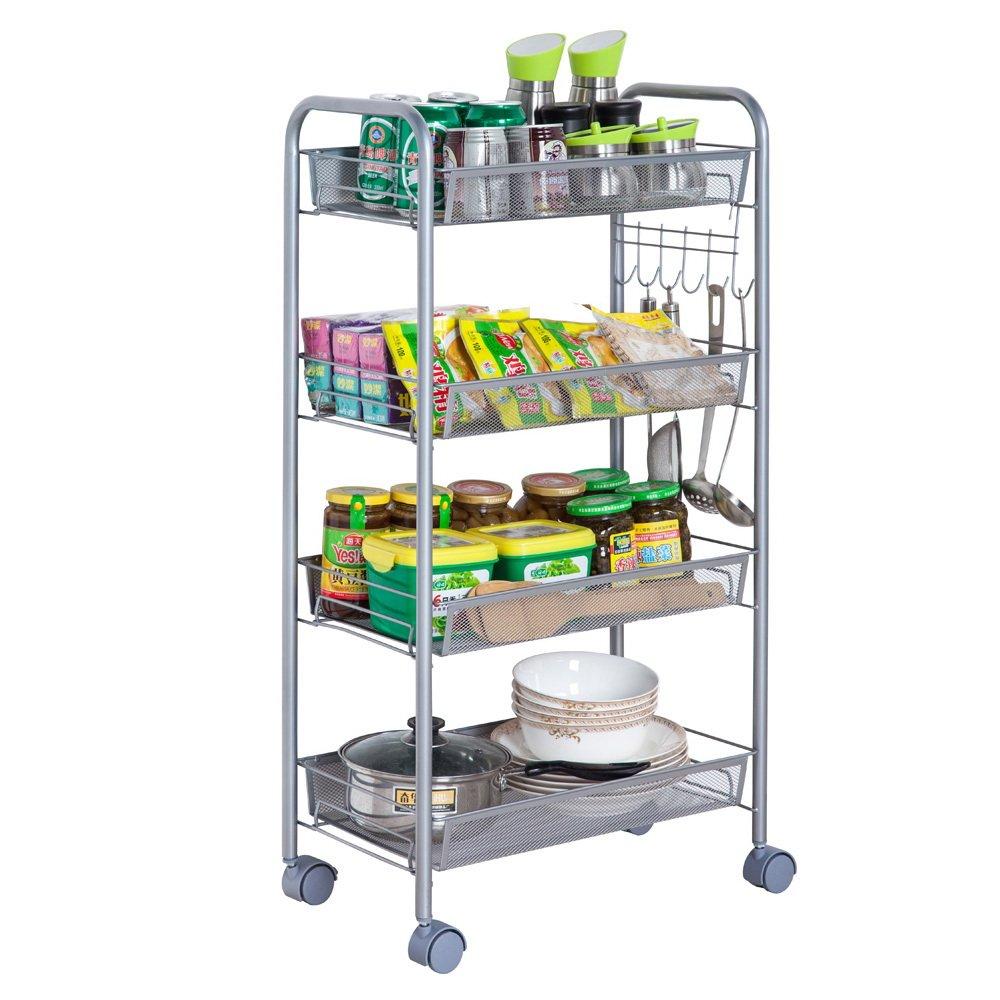 Tenozek 4-Tier Rolling Cart Multifunctional Cart Mesh Storage Utility Cart Honeycomb Ladder Shelf Removable Standing Workstation Shelf Rack for Kitchen Silver, 4 Layers-2